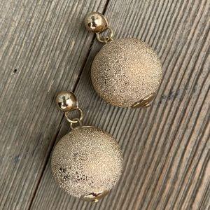 Gold Ball Double Back Earrings